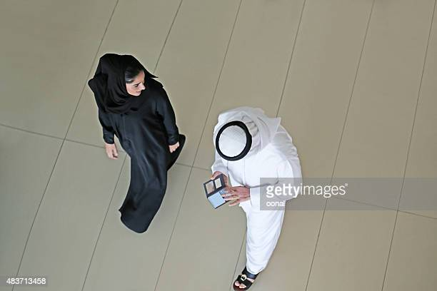 Arab couple from the top view