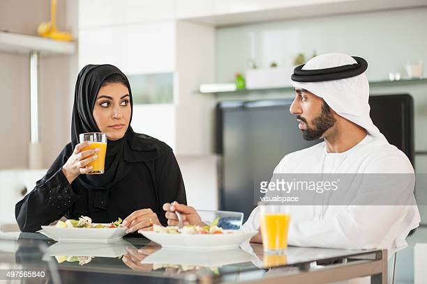Arab Couple Having a Conflict During Lunch