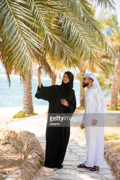 Arab couple making selfie