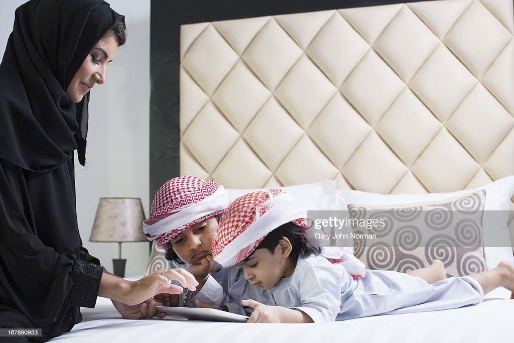 Arab culture mother and sons : Stock Photo