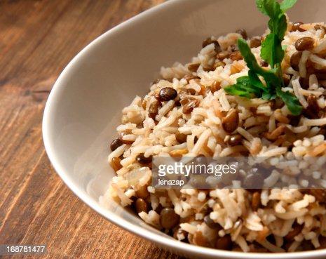 Arab dish Majadra: Green Lentils and Rice.