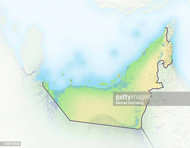 Arab Emirates, shaded relief map