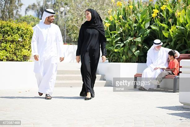 Arab family enjoying their leisure time in park