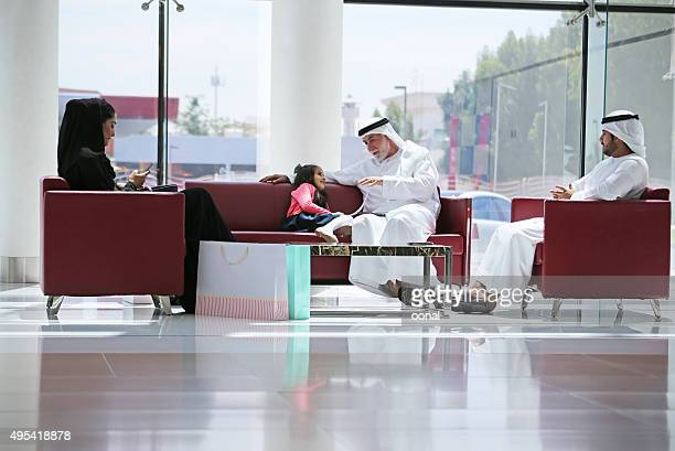 Arab family in shopping center