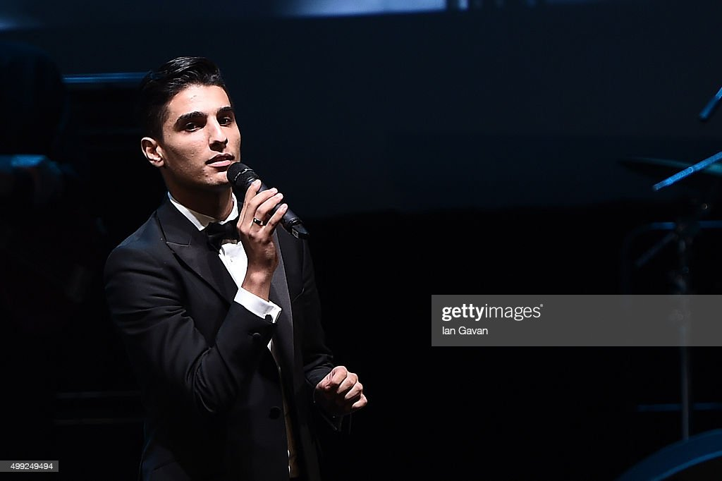 Arab Idol winner (2012) <a gi-track='captionPersonalityLinkClicked' href=/galleries/search?phrase=Mohammed+Assaf&family=editorial&specificpeople=10886300 ng-click='$event.stopPropagation()'>Mohammed Assaf</a> performs a selection of songs for guests at the Katara Opera House following the regional premiere of The Idol, co-financed by the Doha Film Institute at the opening ceremony of the 3rd annual Ajyal Youth Film Festival on November 29, 2015 in Doha, Qatar.