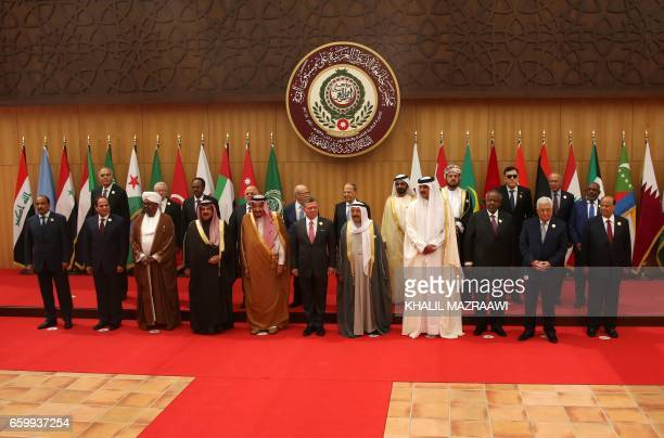 Arab leaders pose for a group photo during the Arab League summit in the Jordanian Dead Sea resort of Sweimeh on March 29 2017 Arab leaders are set...