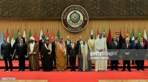 Arab Leauge leaders pose for a family photo during the Arab League summit at Sweimeh Resort in Dead Sea Region Jordan on March 29 2017