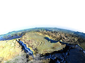 Arab Peninsula on 3D model of Earth. 3D illustration with plastic planet surface and ocean floor. 3D model of planet created and rendered in Cheetah3D software, 9 Mar 2017. Some layers of planet surfa