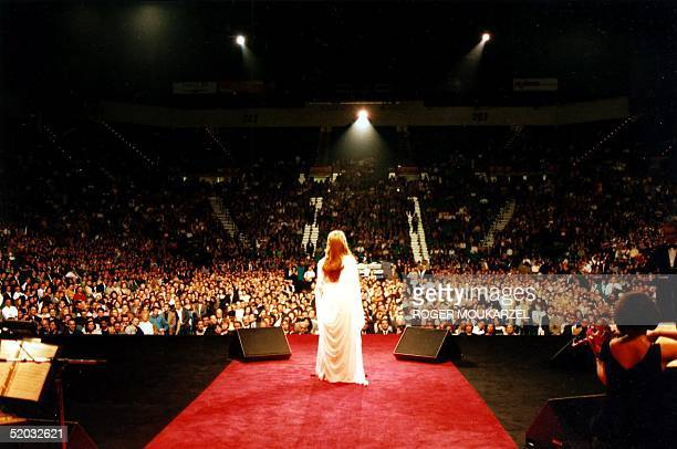 Arab singer Fairouz performs at the MGM Grand Hotel 15 May 1999 in Las Vegas NV Over 12000 people from Latin America Canada and the US attended the...