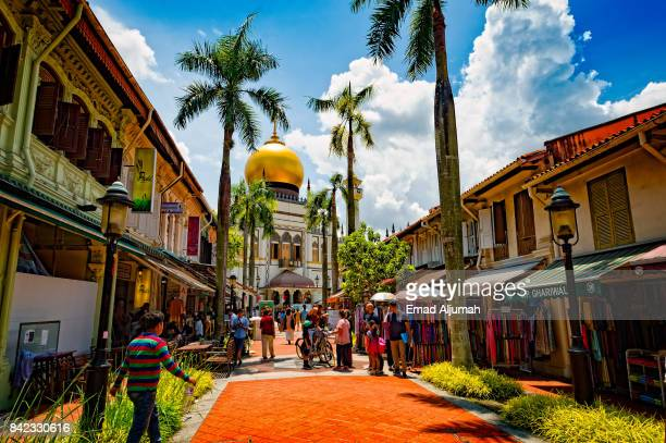 Arab Street with view of Masjid Sultan, Singapore - August 19, 2017