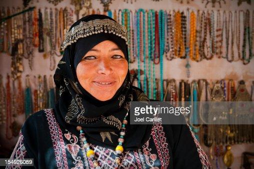 Arab woman inside her souvenir shop in Petra