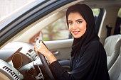 Arab women driving a car
