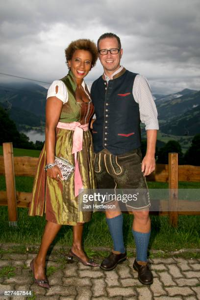 Arabella Kiesbauer and Florens Eblinger during the 14th Almrauschparty at Rosi's Sonnbergstuben on August 4 2017 in Kitzbuehel Austria