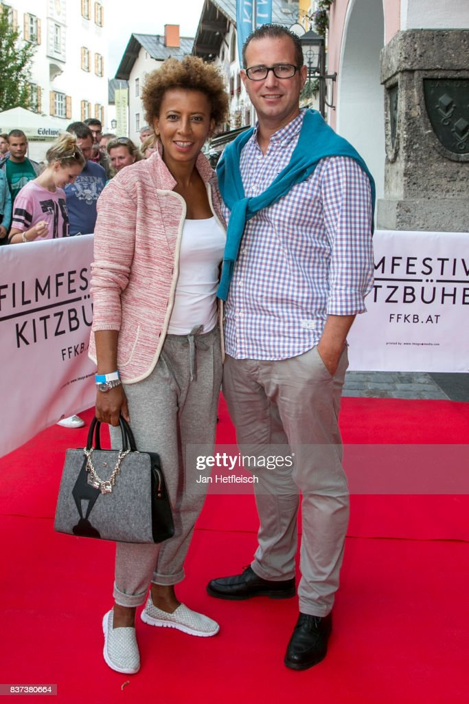 Arabella Kiesbauer and Florens Eblinger pose for a picture during the 'Inconvenient Sequel' premiere and opening night of the Kitzbuehel Film Festival 2017 (Kitzbuehel Filmfest) at Filmtheater Kitzbuehel on August 22, 2017 in Kitzbuehel, Austria.