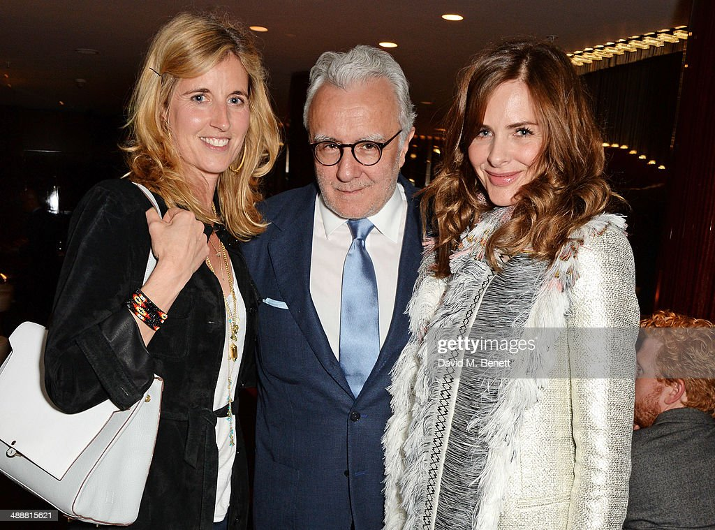 Arabella Pollen Alain Ducasse and Trinny Woodall attend the launch of Alain Ducasse's Rivea restaurant at The Bulgari Hotel on May 8 2014 in London...