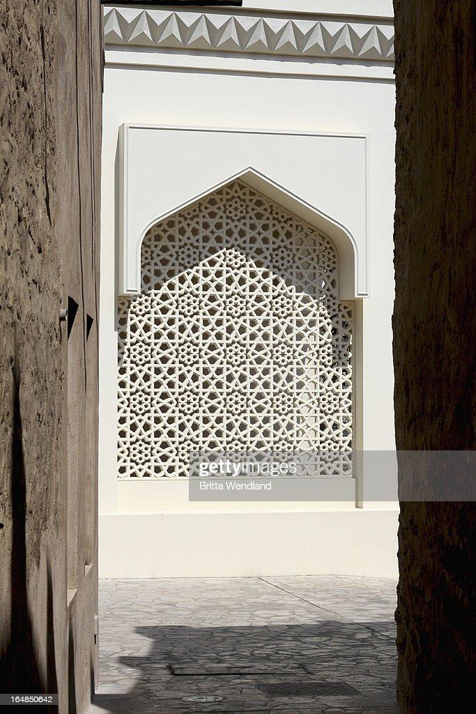 Arabesque lattice window in Dubai, United Arab Emirates