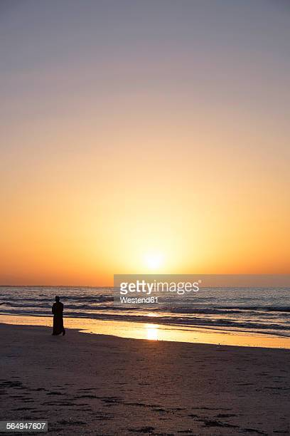 Arabia, Oman, Al Sawadi, beach at sunset