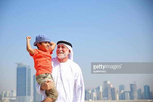 Arabian Grandfather and Grandchildren