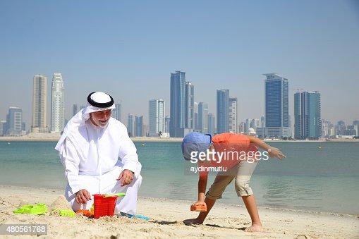 Arabian grandparents and grandchildren : Stock Photo
