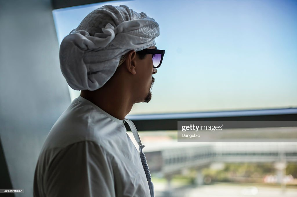 Arabian Male In Metro Train : Stock Photo