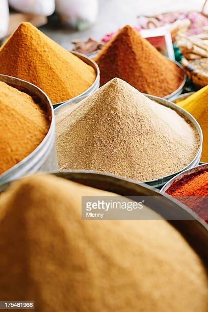 Arabian Spices at Street Market Marrakesh Medina Morocco North Africa
