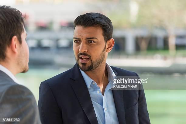 Arabic businessman listening