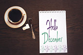 arabic coffee in beautiful cup and message hello december