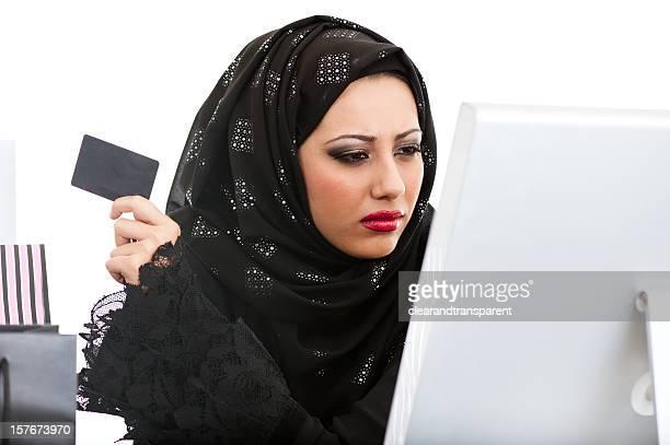 Arabic girl shopping on the internet