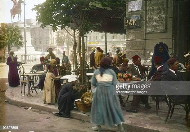 Arabic Peddlers on the Place De L'Opera Cairo Egypt Handcolored lantern slide Around 1910