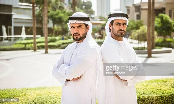 arabic sheik portrait standing on the city