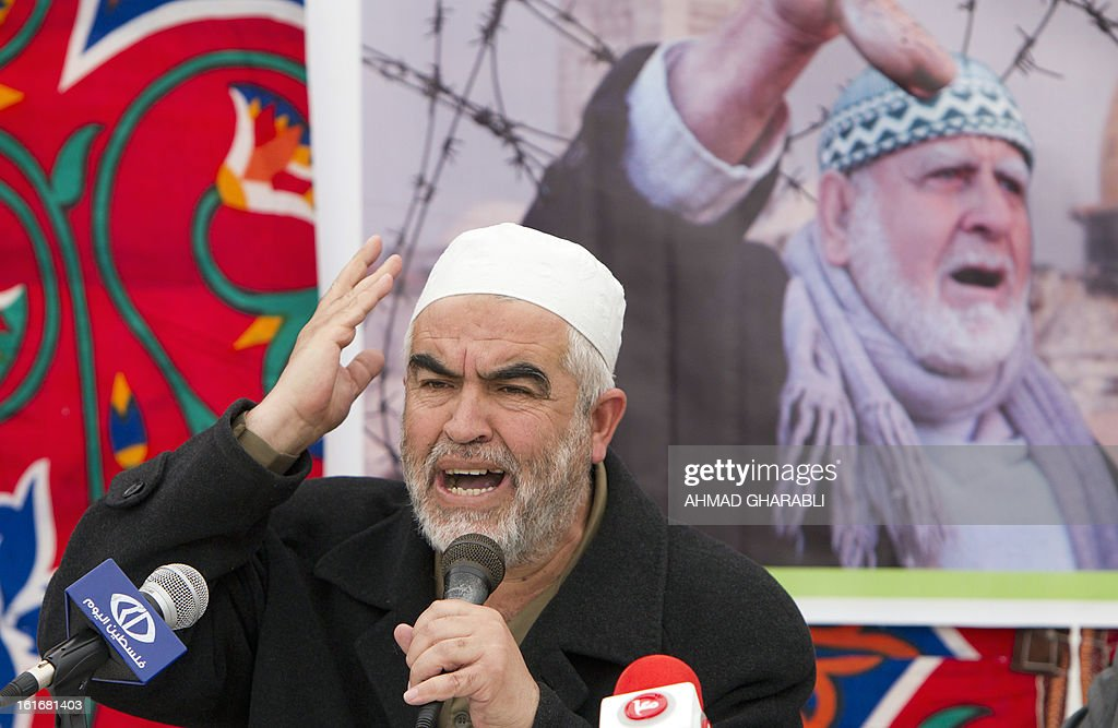 Arab-Israeli Islamist leader Sheikh Raed Salah speaks during a press conference in east Jerusalem on the issue of prisoners held in Israeli jails on February 14, 2013. A United Nations official expressed concern about the well being of Palestinian detainees in Israeli prisons and in particular about the condition of hunger striker Samer Issawi.