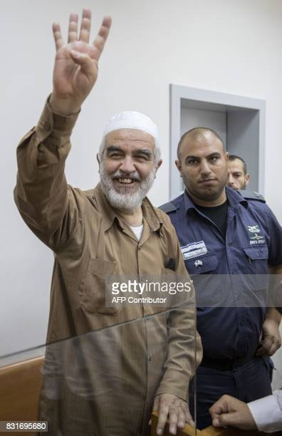 ArabIsraeli Sheikh Raed Salah leader of the radical northern branch of the Islamic Movement in Israel smiles as he arrives at the Israeli Rishon...