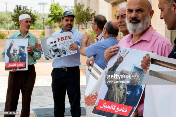 ArabIsraeli supporters of Sheikh Raed Salah leader of the radical northern branch of the Islamic Movement in Israel gather in protest against the...