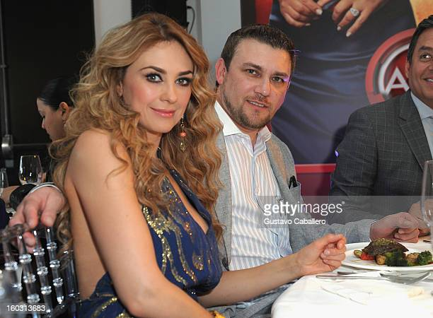 Aracely Arambula and guest attends Telemundo NATPE 2013 Press Conference And Luncheon at Eden Roc Hotel on January 28 2013 in Miami Beach Florida