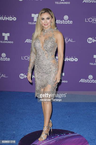 Aracely Arambula arrives at Telemundo's 2017 'Premios Tu Mundo' at American Airlines Arena on August 24 2017 in Miami Florida