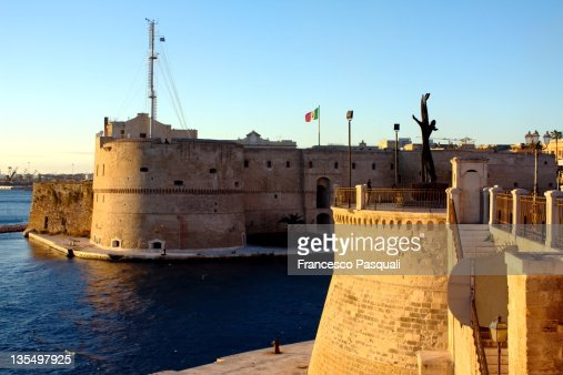 Aragonese castle at sunset in Taranto