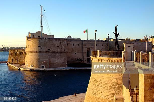 Aragonese castle at sunset in Taranto