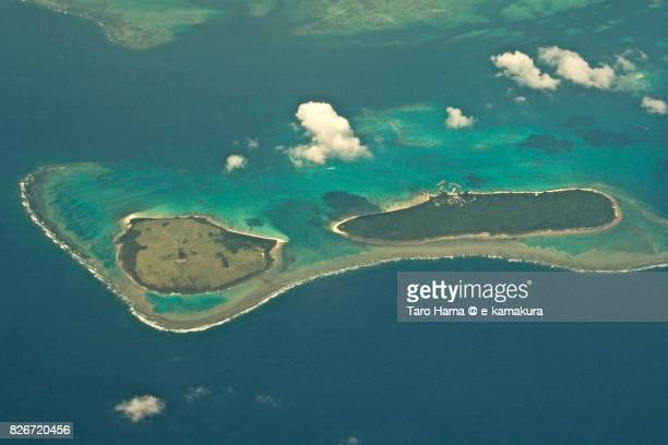 Aragusuku island (Kamiji and Shimoji islands) in Okinawa prefecture day time aerial view from airplane