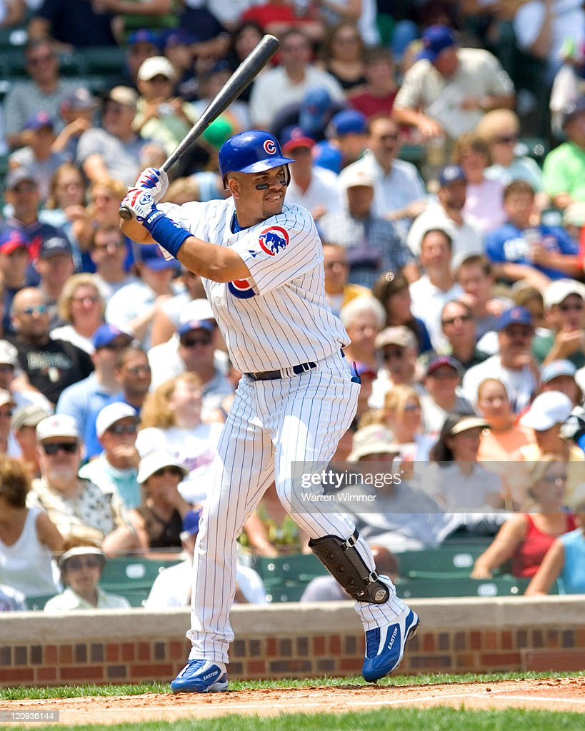 Aramis Ramirez batting in bottom of first inning at Wrigley Field in Chicago, Illiinois on July 14, 2005. Chicago Cubs over the Pittsburg Pirates by a score of 5 to 1.