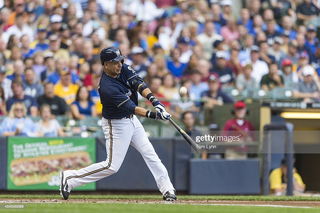 <a gi-track='captionPersonalityLinkClicked' href=/galleries/search?phrase=Aramis+Ramirez&family=editorial&specificpeople=239509 ng-click='$event.stopPropagation()'>Aramis Ramirez</a> #16 of the Milwaukee Brewers bats against the Pittsburg Pirates at Miller Park on August 23, 2014 in Milwaukee, Wisconsin.