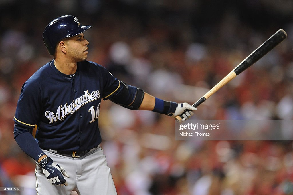 Aramis Ramirez of the Milwaukee Brewers bats against the St Louis Cardinals at Busch Stadium on June 2 2015 in St Louis Missouri