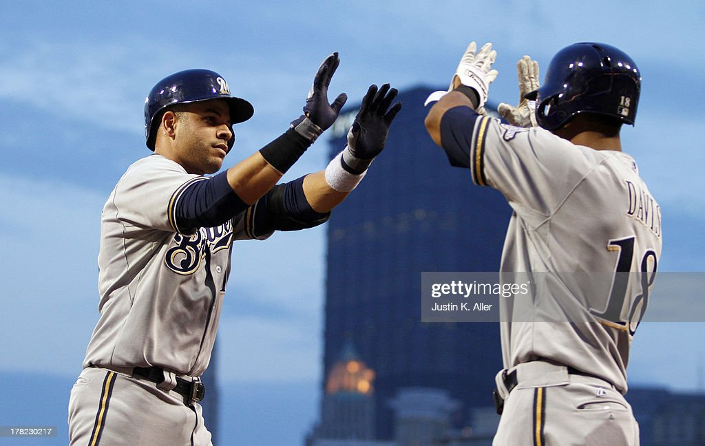 <a gi-track='captionPersonalityLinkClicked' href=/galleries/search?phrase=Aramis+Ramirez&family=editorial&specificpeople=239509 ng-click='$event.stopPropagation()'>Aramis Ramirez</a> #16 of the Milwaukee Brewers celebrates after hitting a solo home run in the fourth inning against the Pittsburgh Pirates during the game on August 27, 2013 at PNC Park in Pittsburgh, Pennsylvania.