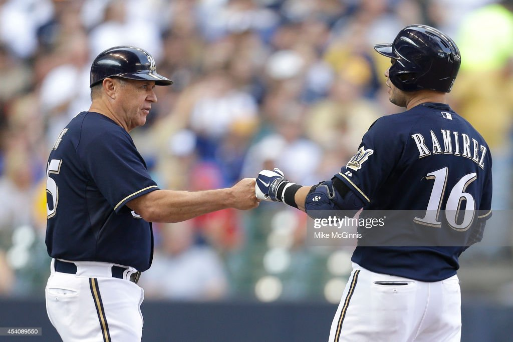Aramis Ramirez #16 of the Milwaukee Brewers celebrates after reaching first on a catching error by Starling Marte in the bottom of the first inning against the Pittsburgh Pirates at Miller Park on August 24, 2014 in Milwaukee, Wisconsin.