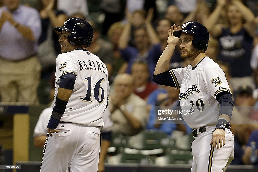 <a gi-track='captionPersonalityLinkClicked' href=/galleries/search?phrase=Aramis+Ramirez&family=editorial&specificpeople=239509 ng-click='$event.stopPropagation()'>Aramis Ramirez</a> #16 of the Milwaukee Brewers celebrates with <a gi-track='captionPersonalityLinkClicked' href=/galleries/search?phrase=Jonathan+Lucroy&family=editorial&specificpeople=5732413 ng-click='$event.stopPropagation()'>Jonathan Lucroy</a> #20 after scoring on a hit by Khris Davis (not pictured) in the bottom of the third inning against the Cincinnati Reds at Miller Park on August 16, 2013 in Milwaukee, Wisconsin.
