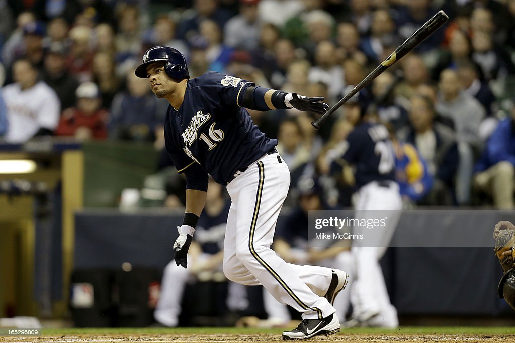 <a gi-track='captionPersonalityLinkClicked' href=/galleries/search?phrase=Aramis+Ramirez&family=editorial&specificpeople=239509 ng-click='$event.stopPropagation()'>Aramis Ramirez</a> #16 of the Milwaukee Brewers doubles off this pitch in the bottom of the second inning against the Colorado Rockies at Miller Park on April 2, 2013 in Milwaukee, Wisconsin.