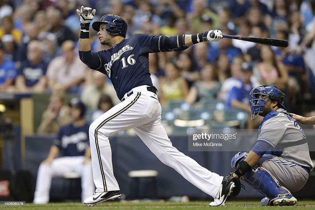 Aramis Ramirez #16 of the Milwaukee Brewers hits a RBI double in the bottom of the first inning against the Toronto Blue Jays during the Interleague game at Miller Park on August 19, 2014 in Milwaukee, Wisconsin.