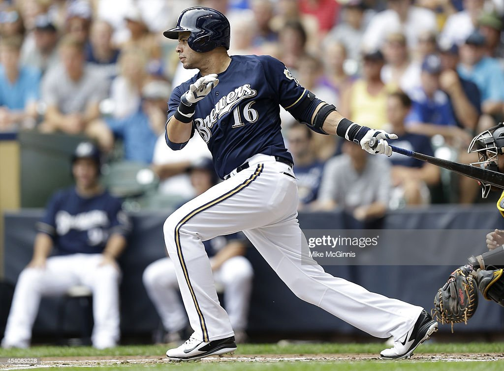 Aramis Ramirez of the Milwaukee Brewers hits a single in the bottom of the first inning against the Pittsburgh Pirates at Miller Park on August 24...