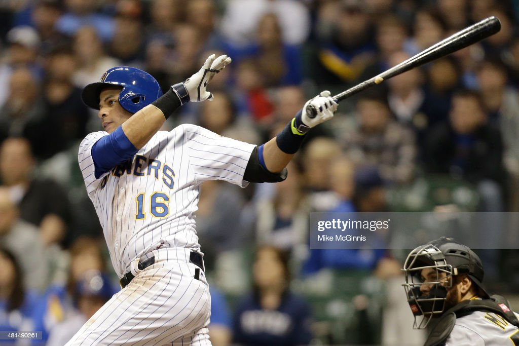 Aramis Ramirez #16 of the Milwaukee Brewers hits a single in the bottom of the eighth inning against the Pittsburgh Pirates at Miller Park on April 12, 2014 in Milwaukee, Wisconsin.