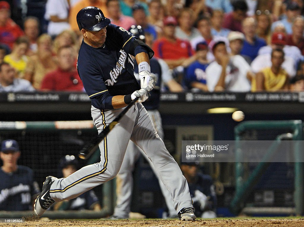 <a gi-track='captionPersonalityLinkClicked' href=/galleries/search?phrase=Aramis+Ramirez&family=editorial&specificpeople=239509 ng-click='$event.stopPropagation()'>Aramis Ramirez</a> #16 of the Milwaukee Brewers hits a two-run home run during the game against the Philadelphia Phillies at Citizens Bank Park on July 24, 2012 in Philadelphia, Pennsylvania. The Phillies won 7-6.