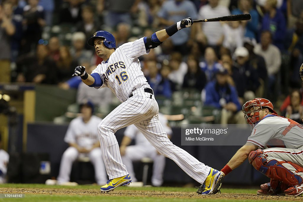 <a gi-track='captionPersonalityLinkClicked' href=/galleries/search?phrase=Aramis+Ramirez&family=editorial&specificpeople=239509 ng-click='$event.stopPropagation()'>Aramis Ramirez</a> #16 of the Milwaukee Brewers hits a walkoff single in the bottom of the ninth inning to put the Brewers on top 5-4 against the Philadelphia Phillies at Miller Park on June 07, 2013 in Milwaukee, Wisconsin.